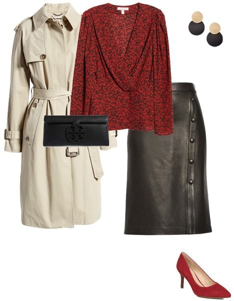 pairing leather with a classic trench coat | 40plusstyle.com