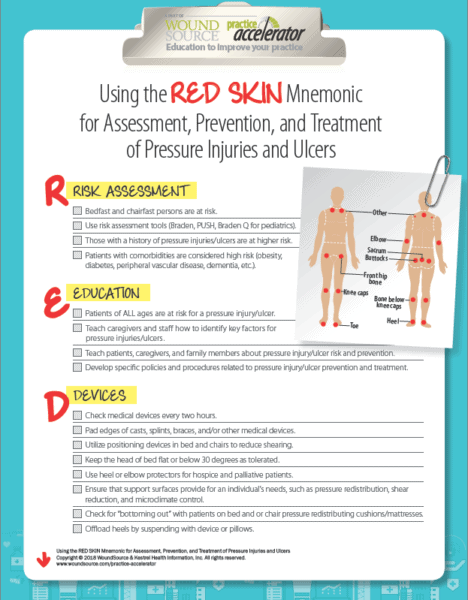 Using the RED SKIN Mnemonic for Assessment, Prevention, and Treatment of Pressure Injuries and Ulcers