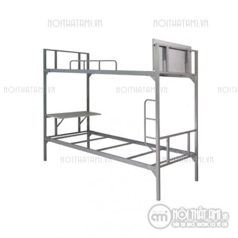 giường sắt 2 tầng có bàn học thanh lý
