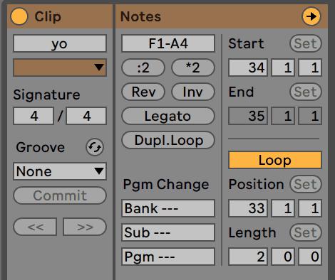 Ableton Live 10 Clip Settings