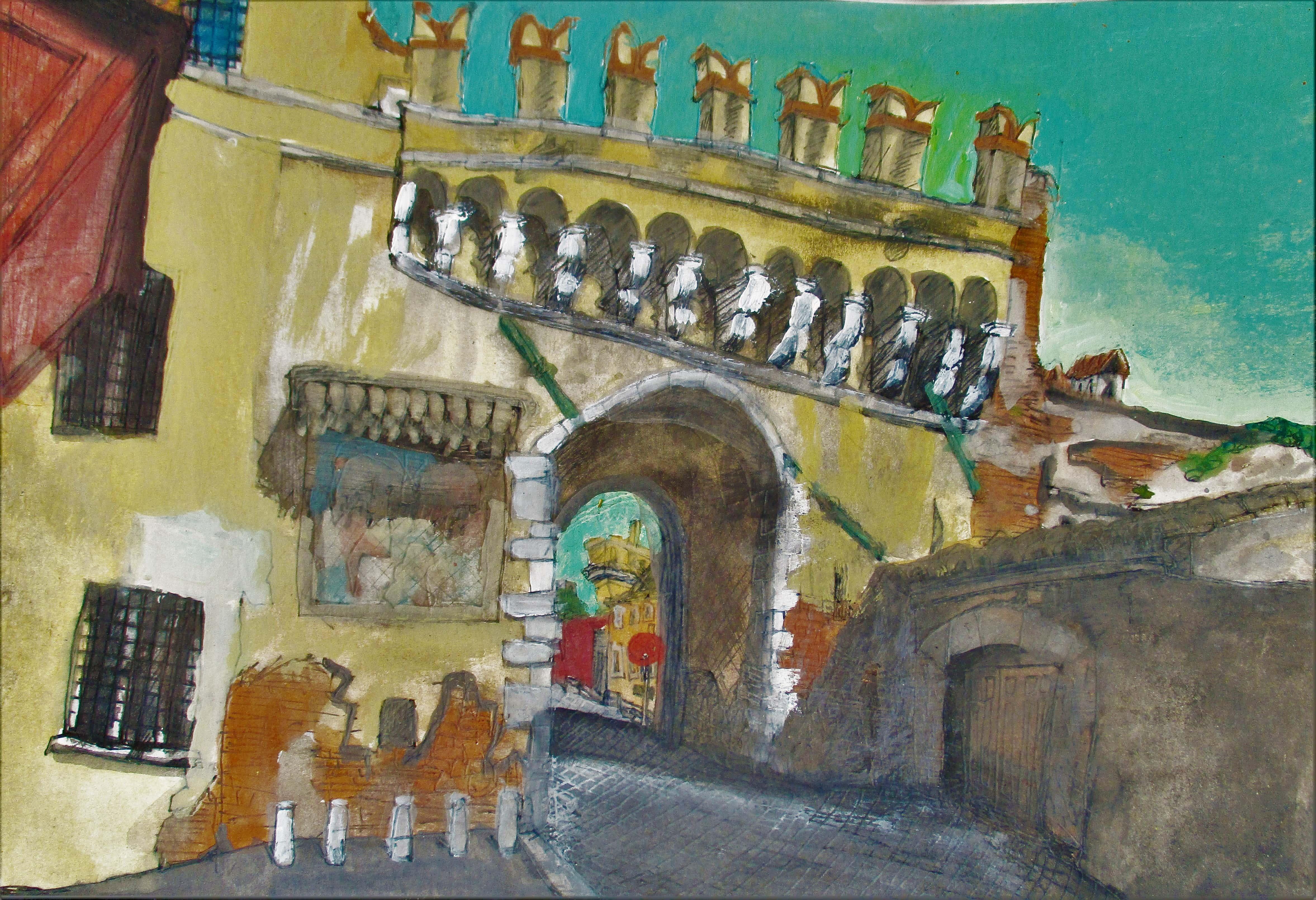 Roma I. Porta Settimiana, Trastevere. Tinta, acuarela y acrílico sobre papel. 21 x 30 cm. 2016.
