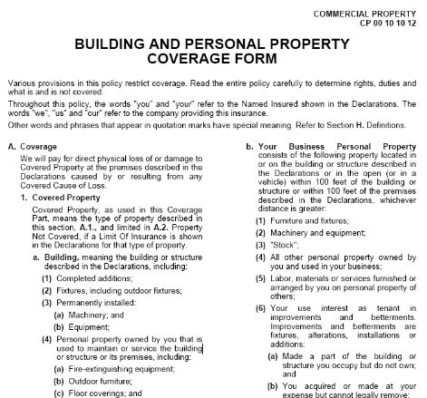 Building And Personal Property Coverage Form