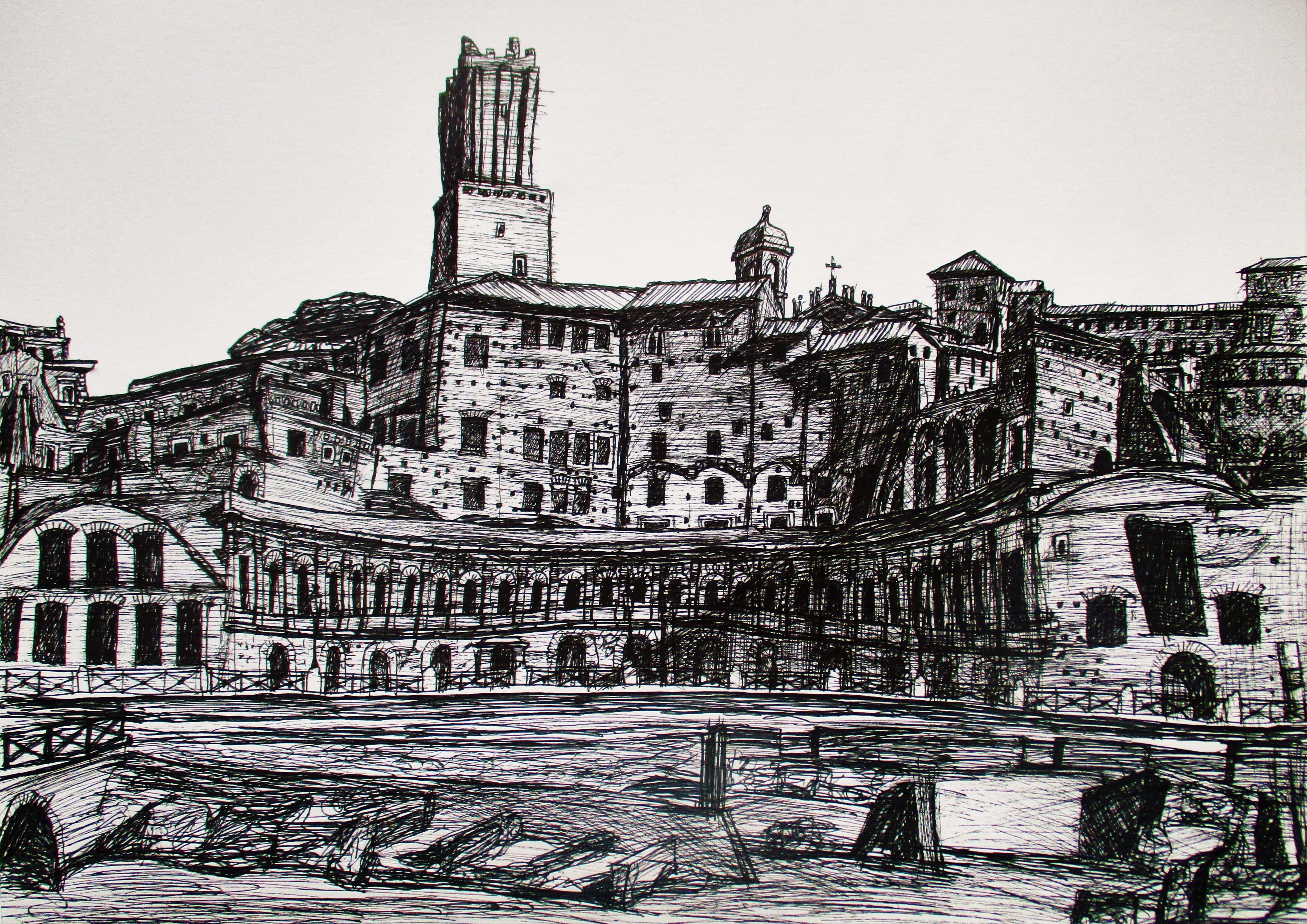 Roma V. Foro de Trajano. Tinta sobra papel, 30 x 42 cm. 2016.