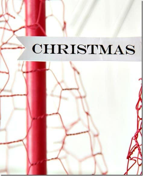 Spray paint the wire and dowel rods a vibrant christmas red