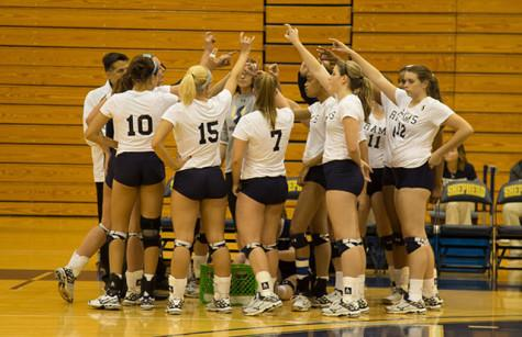 Shepherd takes a timeout during the game against Urbana University (Ohio)  on October 30.