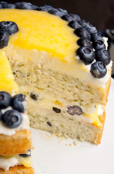 White Zucchini Cake with Whipped Vanilla Frosting, Lemon Curd and Blueberries-7