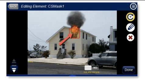 Editing a fire simulation masked effect