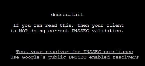 Her viser nettsiden dnssec.failat en nettleverandør ikke støtter DNSSEC