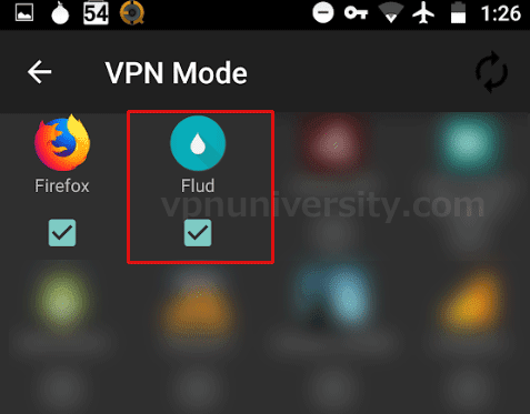 Choose which apps to use in VPN mode