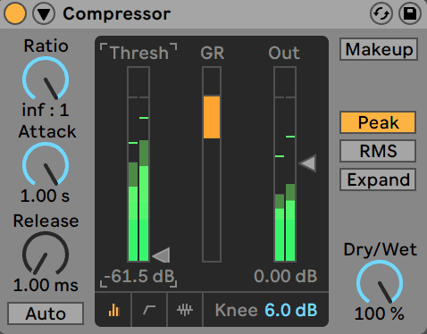 Ableton Live Compressor Simple Metered View