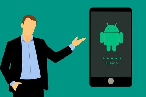 man pointing to android phone