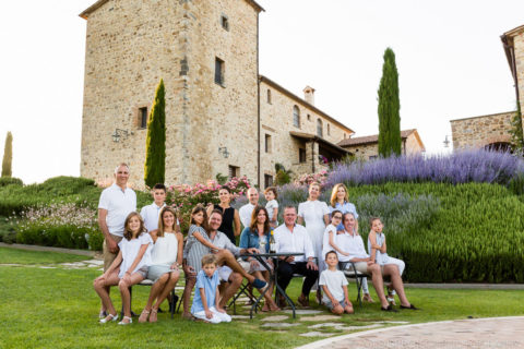 Group photo of a Family Reunion in Italy