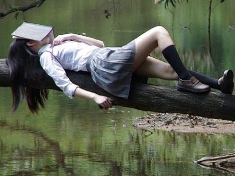Mädchen mit Buch auf dem Gesicht schläft auf Baumast überm See