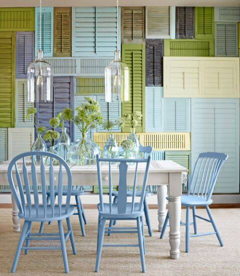 WALL OF SHUTTERS IDEAS FOR SMALL DINING ROOM DECORATION