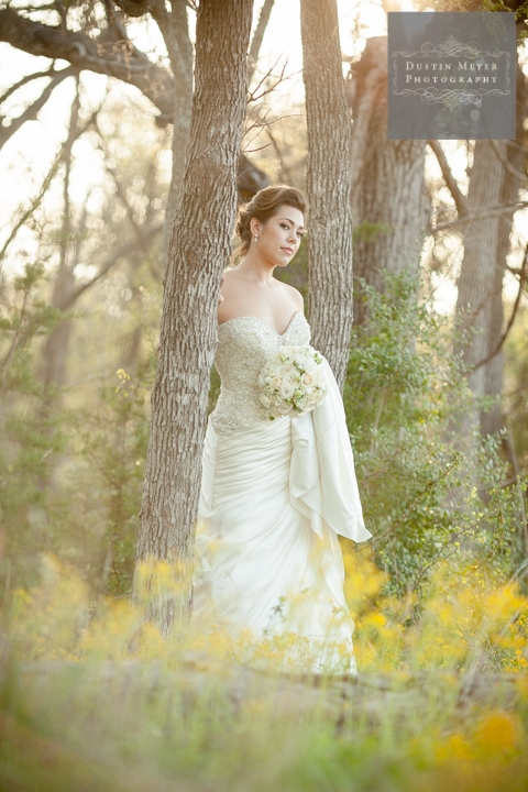 gorgeous bridal portraits in the woods with wildflowers austin texas wedding photographers