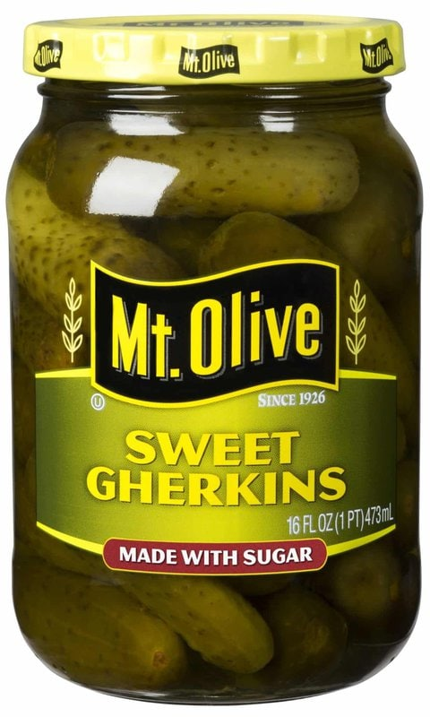 Mount Olive Sweet Gherkins Made with Sugar. Satisfy your sugar craving and enjoy your favorite pickle at the same time