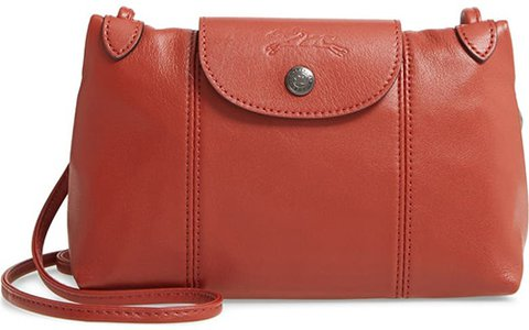 Longchamp Le Pliage - Cuir Leather Crossbody Bag | 40plusstyle.com
