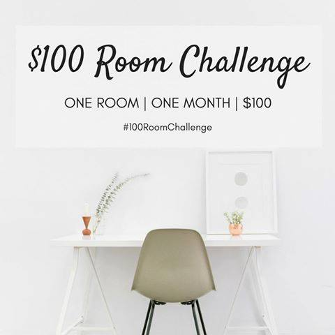 White desk with white wall and $100 Room Challenge words.