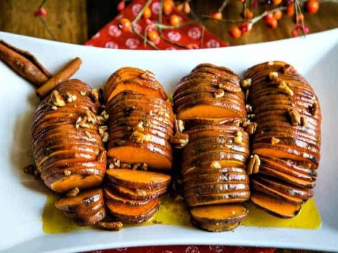 Hasselback Sweet Potatoes with Maple Cinnamon Butter