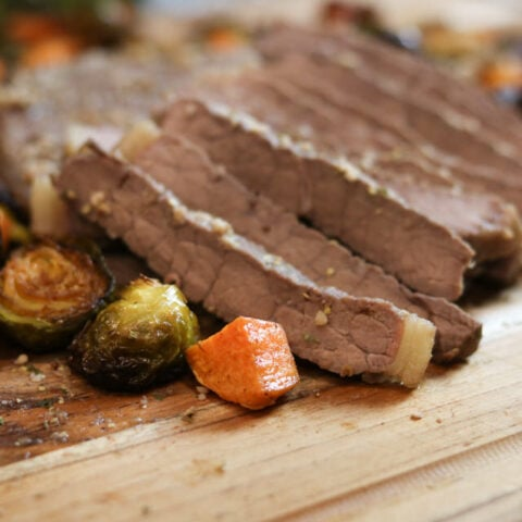 Bourbon Steak with Brussels and Sweet Potatoes