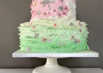 tort zielono różowy