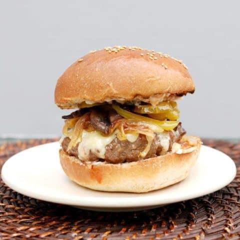 a juice burger on a plate