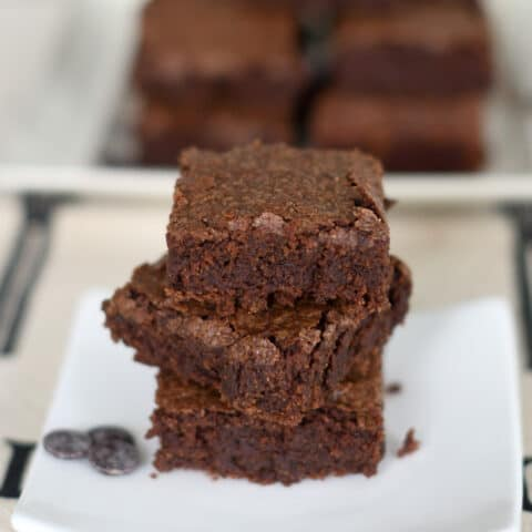 a stack of sourdough brownies