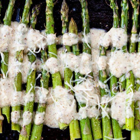 Oven Roasted Asparagus with Lemon Walnut Dressing