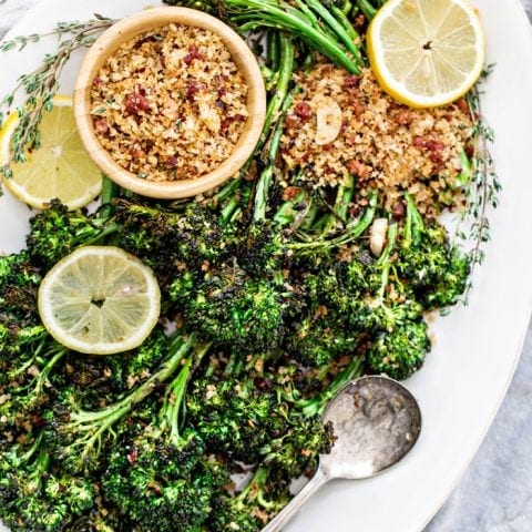 Lemon Roasted Broccolini with Pancetta and Breadcrumbs