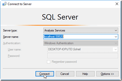 SSMS Connect to Power BI Desktop Model