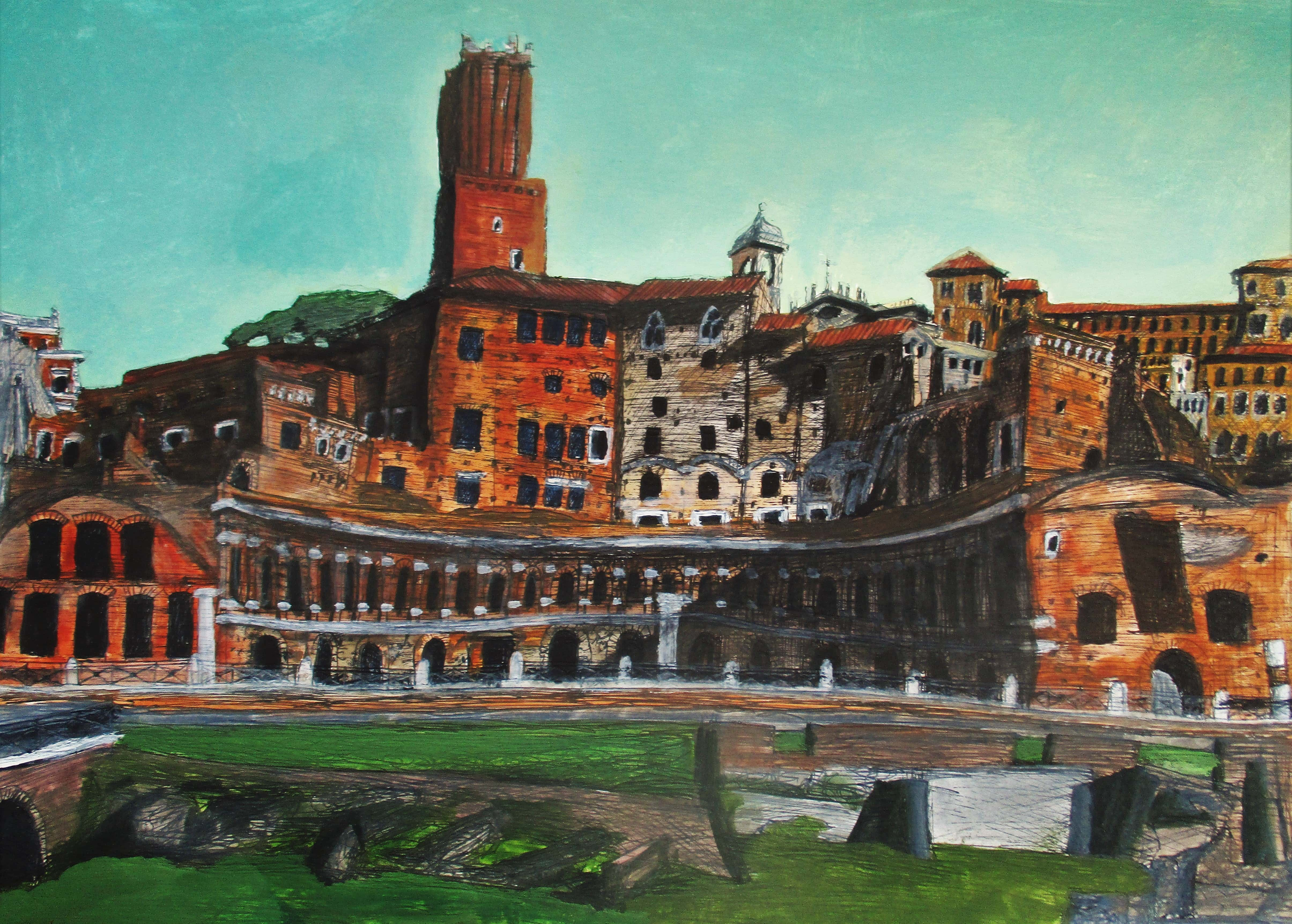 Roma V. Foro de Trajano. Tinta, acuarela y acrílico sobre papel, 42 x 30 cm. 2016