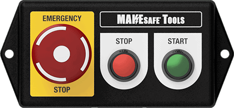 makesafe control panel with start, stop, and emergency stop button shown