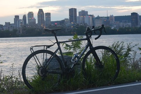 A bike parked infront of the city of Montreal