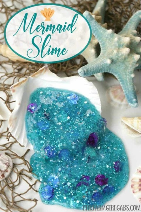 The Little Mermaid Slime #Slime #SlimeRecipe #Disney #DisneyPrincess #WaltDisneyWorld #DisneyCraft #KidsCraft #DIY #Crafts #TheLittleMermaid #Ariel