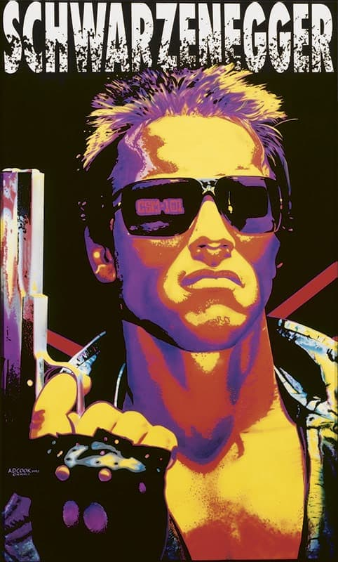 SCHWARZENEGGER TERMINATOR wall mural by A.D. Cook for Hollywood Video