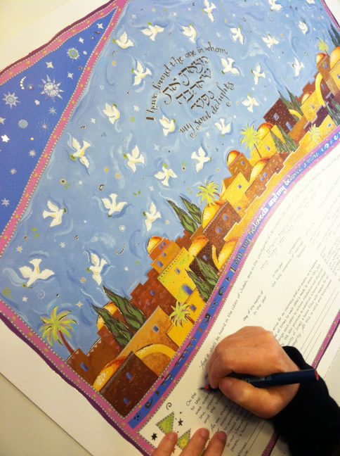 11-2 Celestial Jerusalem Ketubah, Personalizing text, Hand Calligraphy by Mickie Caspi