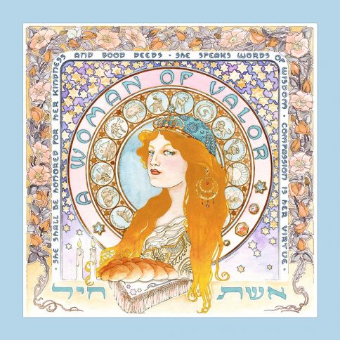 Eshet Chayil Art Nouveau Wall Art BLOND BLUE