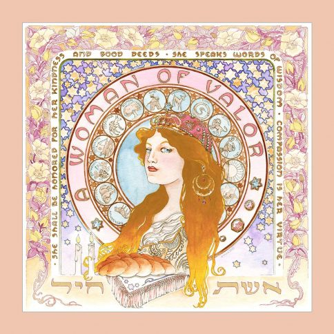 Eshet Chayil Art Nouveau Wall Art BLOND PINK