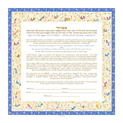 Birds of Paradise Giclee Ketubah Blueetubah BLUE