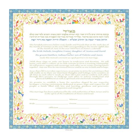 Birds of Paradise Giclee Ketubah Robins Egg