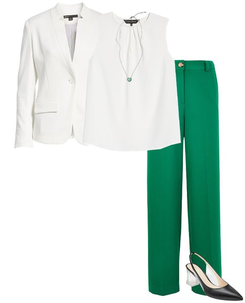 White and green outfit idea | 40plusstyle.com
