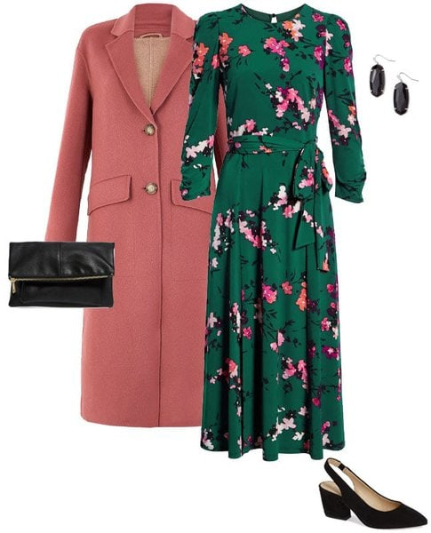 green dress and pink coat | 40plusstyle.com