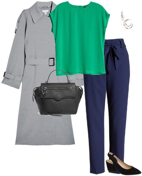 trench coat, green top and navy pants | 40plusstyle.com