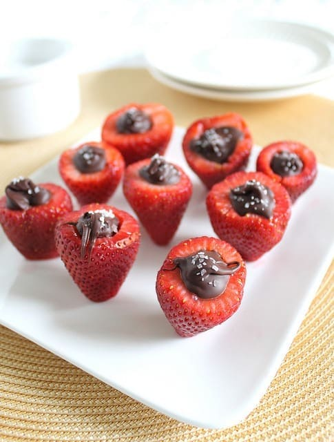 Chocolate Stuffed Strawberries with sea salt are the perfect easy Valentine's Day treat.