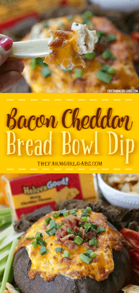 Looking for the perfect cheesy party dip? Well, look no further. This Bacon Cheddar Bread Bowl Dip is the perfect way to get the party started. #HeluvaGoodSummer #Ad #Dip #BreadbowlDip #Appetizer #GameDay #TailGateRecipe #Football #PartyRecipe
