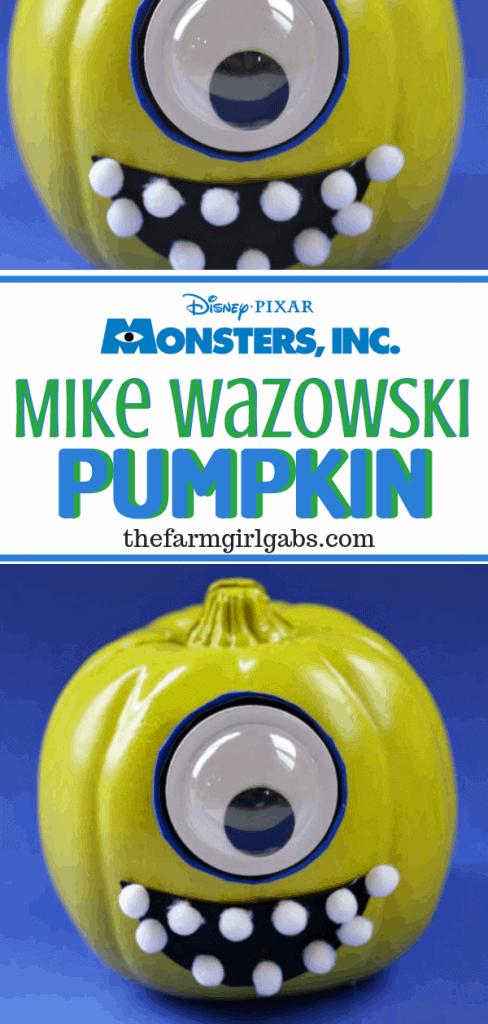 Add a little scare to your Halloween with this easy DIY No-Carve Mike Wazowski Pumpkin. This craft is perfect for a very Disney Halloween. #DisneyCraft #Pixar #MonstersInc #WaltDisneyWorld #DisneyCraft #Pumpkin #HalloweenDecor