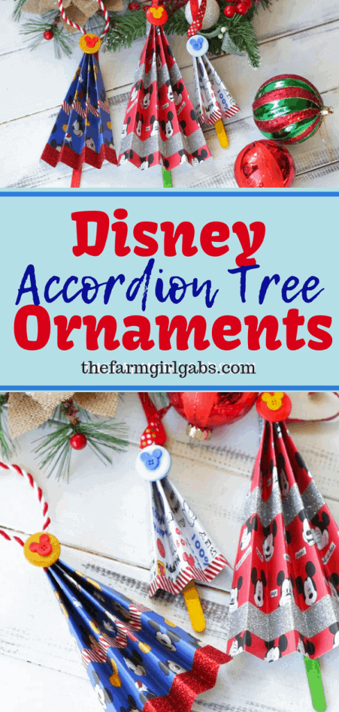 Add a magical touch to your Christmas tree with this easy Disney Accordion Tree Ornaments craft. Kids will love to create these Disney ornaments. #Disney #DisneyCraft #DisneyChristmas #ChristmasOrnaments #ChristmasDecorations #XmasDecor #MickeyMouse