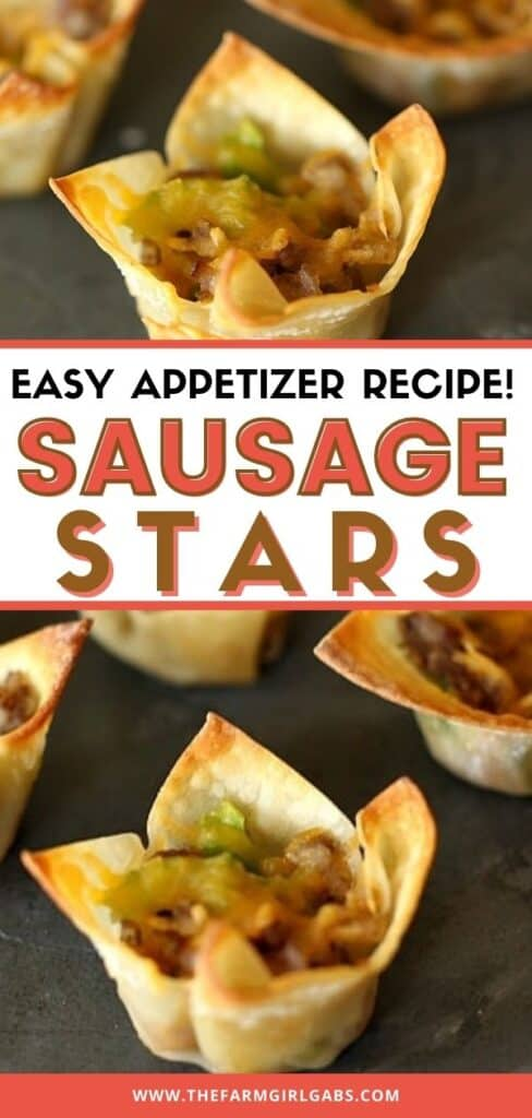 These easy Sausage Stars Appetizers are the perfect recipe for your next celebration. Grab some wonton shells and try this tasty hors d'oeuvres recipe. These party appetizers are made with wonton shells, sausage, peppers and cheese. This is a quick recipe to make for your next party. This easy appetizer recipe is quick to make and delicious too.