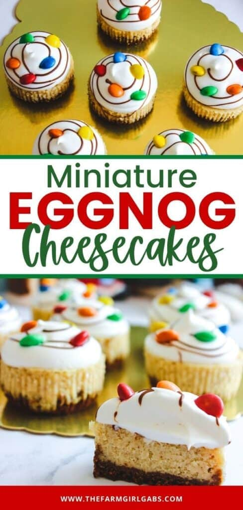 Mini Eggnog Cheesecakes are the perfect holiday dessert. This festive recipe combines classic eggnog into miniature delicious cheesecake desserts. If you are a fan of eggnog, then you will love this easy eggnog cheesecake recipe. These bite-sized mini-cheesecakes are a perfect holiday dessert.