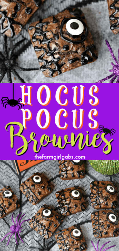 These Hocus Pocus Brownies will definitely put a delicious spell on you. These spellbinding brownies are the perfect spell to make for Halloween. #HocusPocus #Brownies #Halloween #HalloweenParty #HalloweenTreats